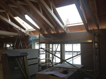 Håltagning för två takfönster.